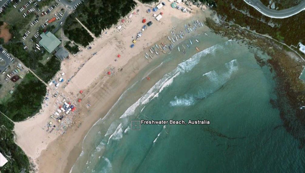 freshwater beach En las antípodas con Bill Bryson y Google Earth.