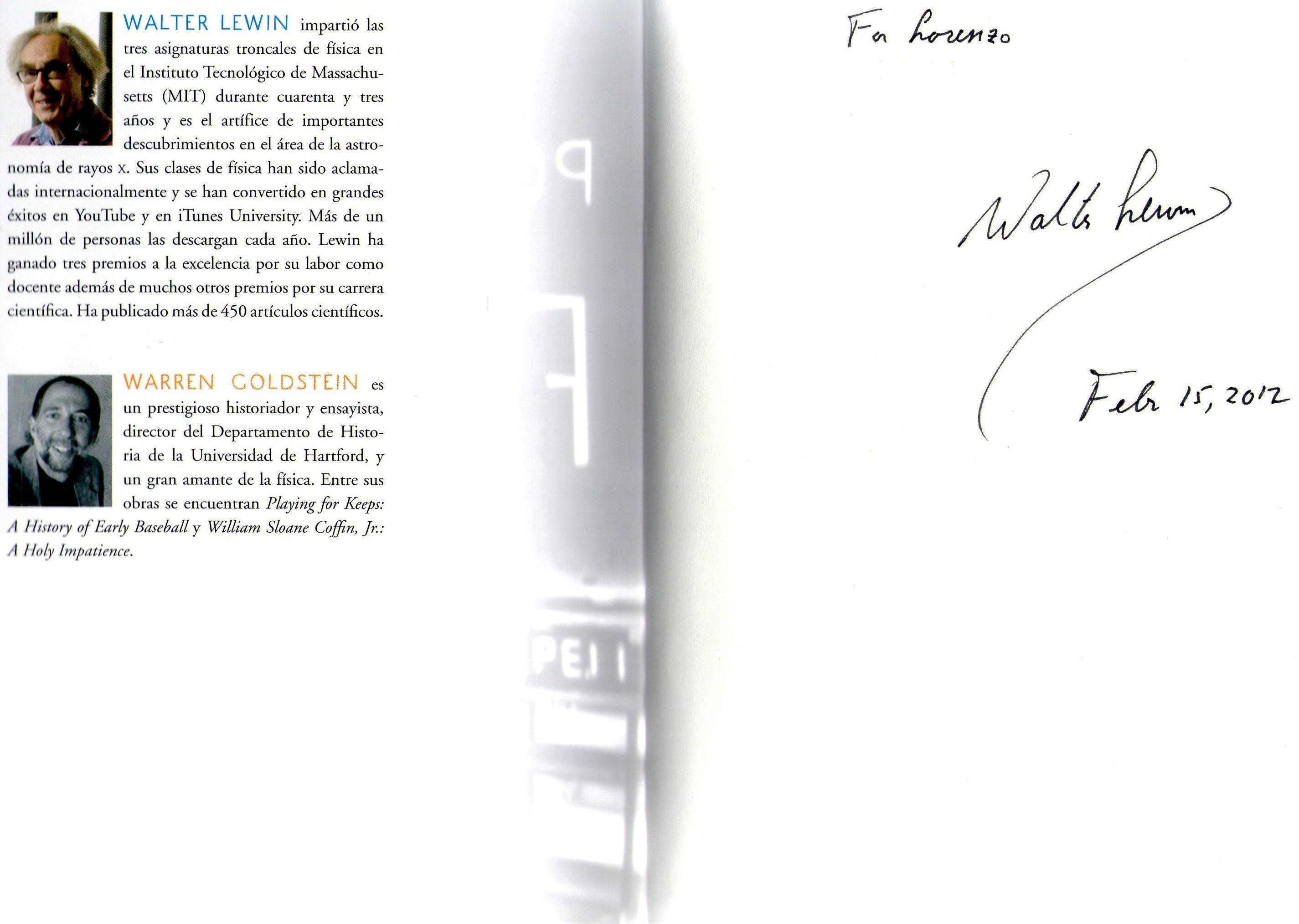 firma libro walter Lewin Mis 3 preguntas y un pero a Walter Lewin.