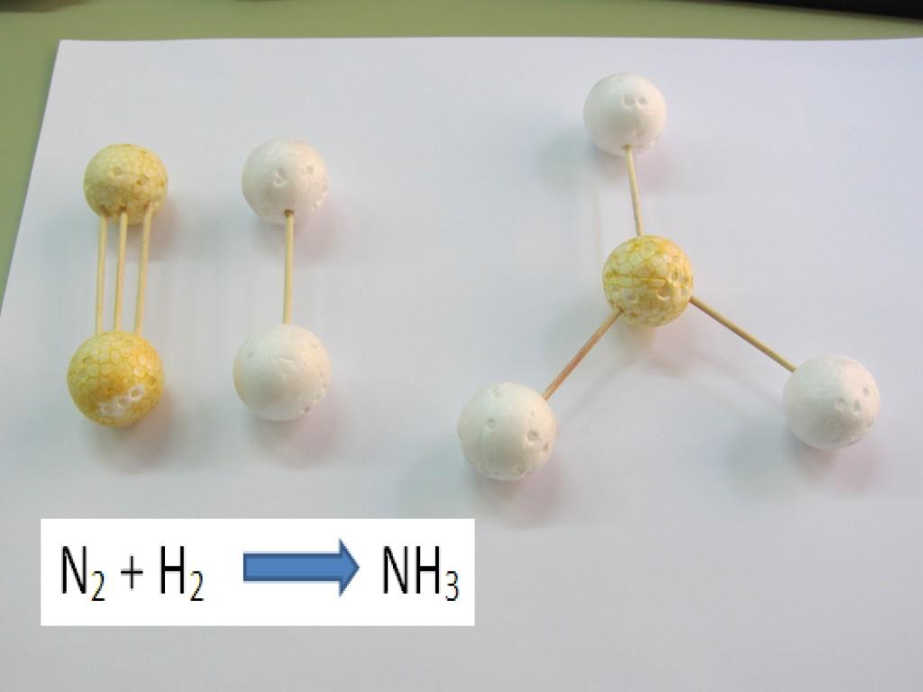ajuste amoniaco 1024x768 Menos es más: modelos de bolitas y palillos (de dientes) para hacer moléculas en 3º de la ESO.